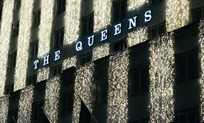 xmas building lights the queens hotel